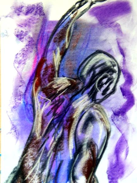 Contemporary Line Drawing Artists : Purple life drawing in pastel geckotui gallery