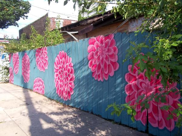 Thompson street fence mural erika matyok for Backyard mural ideas