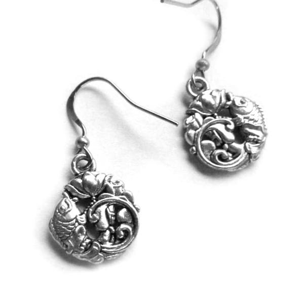 Koi Fish lotus flower Zen earrings with fish flower charms