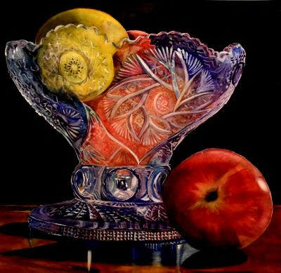 Cut Glass Compote with Apples