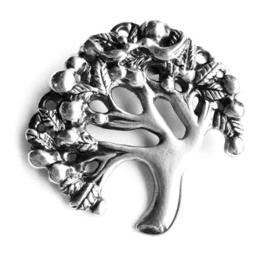 Tree of Life Tree brooch silver plated pewter Tree pin original Tree design Handcrafted Art jewelry