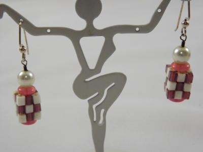 E-99 Pink & White Cube Earrings