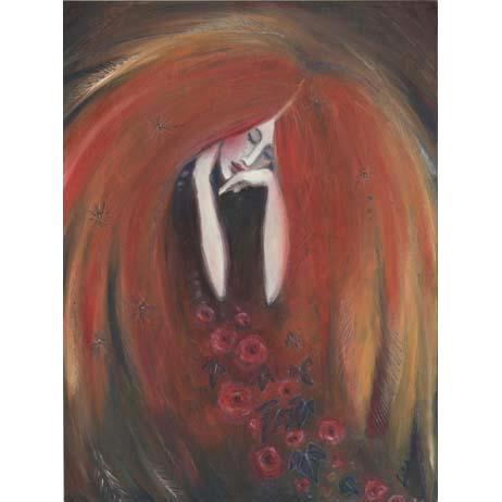 Autumn Angel original painting : oil painting of an Autumn Goddess by Liza Paizis