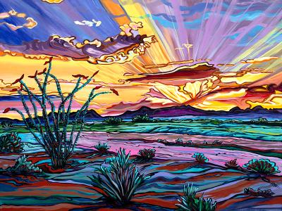 The Desert Blushes as the Sun Shows it's Face - 18x24 SOLD