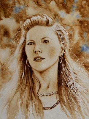 The Viking beauty (coffee painting), 28cm x 38cm, 2020