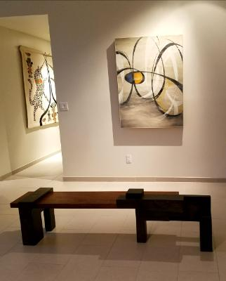 Encaustic with stone/wood bench, Paradise Valley AZ