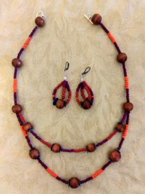 Double strand glass and Wooden set