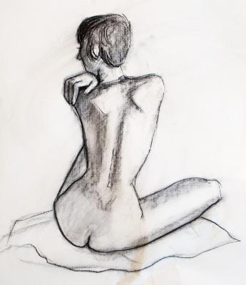 Female Nude, Seated, Rear View