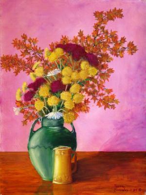 Autumn Flowers in Green Vase