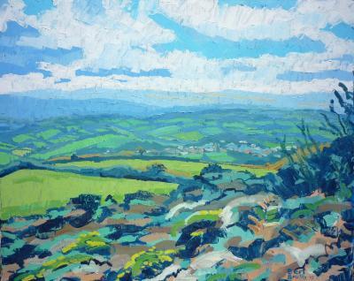 View of Dartmoor, looking down on Moretonhampstead