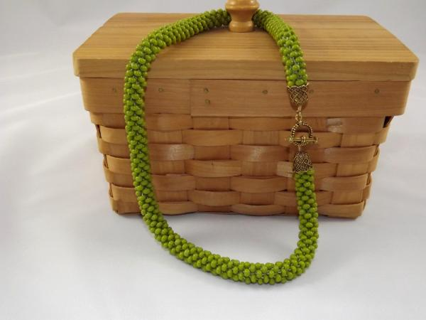 N-60 Light Olive Crocheted Rope Necklace