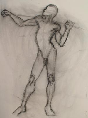 Nude Male Gesture (pole on shoulders)