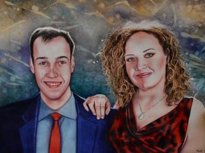 "Custom portrait ""THE TWINS"", 38cm x 56cm, 2020"