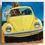 FOUR SURFDOGS IN A YELLOW BUG