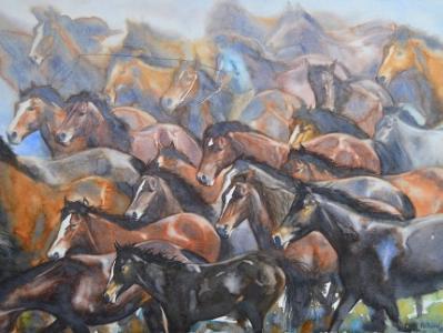 Herding wild horses, 76cm x 56cm, 2017