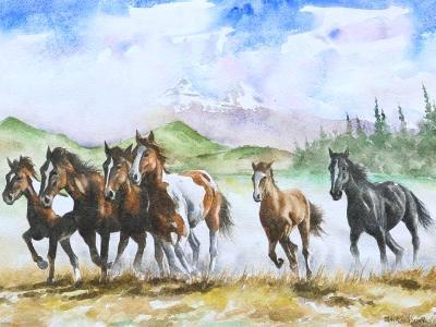 Horses of the Illinizas mountain, 35cm x 50cm, 2014