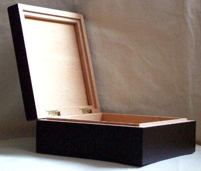 Open view of black wooden box