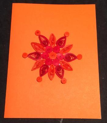 Orange snowflake quilled greeting card