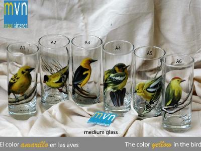 Set of handpainted glasses: YELLOW BIRDS