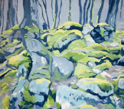 """Moss-covered rocks on Dartmoor (""""the man in the blue coat"""")"""