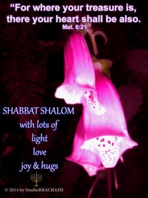 Mt 6:21~Shabbat Shalom