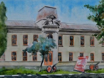Plein air watercolor painting of the Museum Judetean Antonescu, Giurgiu-ROMANIA,, 28cm x 38cm, 2018
