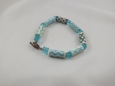 B-98 light blue pattern tube bracelet