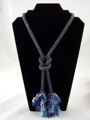 N-72 Matte AB Slate Blue Crocheted Tassel Rope Necklace