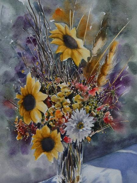 Bouquet of flowers THE SPIRIT OF GEORGIA, 38cm x 56cm, 2019