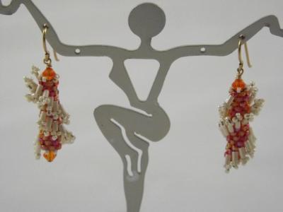 E-3 Orange & Ivory Ruffle Earrings