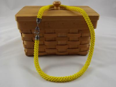N-74 Bright Yellow Crocheted Rope Necklace