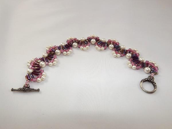 B-13 pink, purple, and pearl wave bracelet