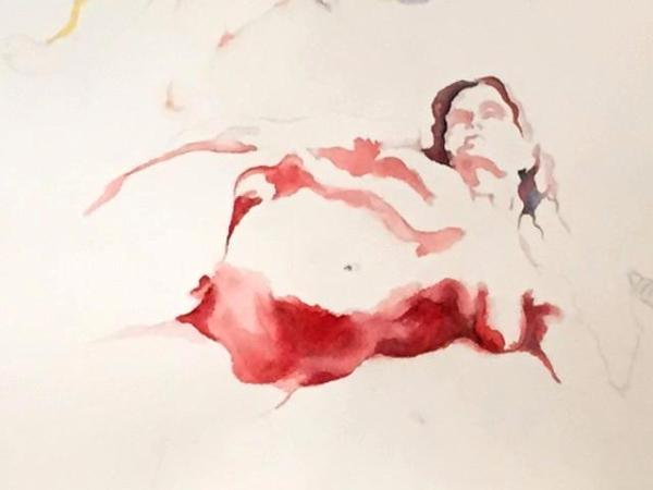 figure in shades of red