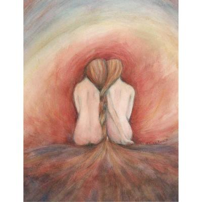 The Fire original painting of two friends sisters or gemini twin souls