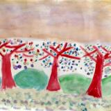 My pupils' paintings: Trees in Heaven