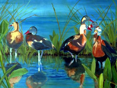 Whistling Ducks - 24x36 - oil