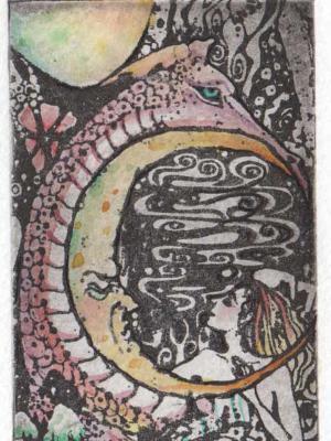 Dragon Girl Limited Edition etching dragon fantasy art