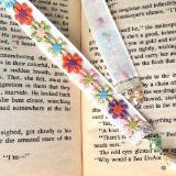 daisy textile bookmark pearl