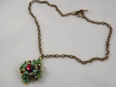 N-6 Swarovski Rivoli Crystal & Glass Bead Medallion Necklace