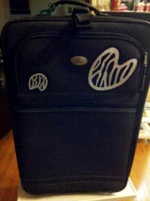 front of zebra luggage