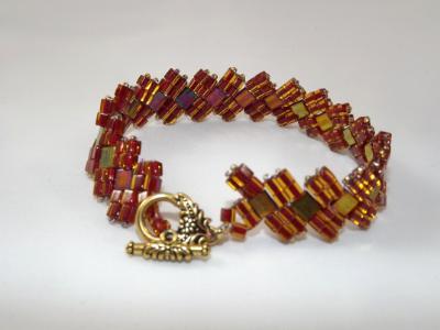 B-91 rootbeer & tila bead bracelet