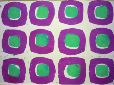 Purple and green on cream 1