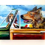 2 REGULAR DOGS IN A CLASSIC CAR