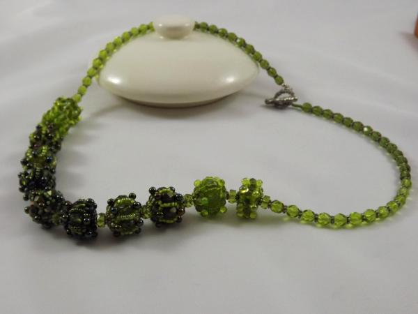 N-38 Shades of Olive Green Beaded Bead Necklace