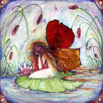Fairy Pond art print of a fairy by Liza Paizis