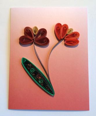 The Pastel Series Orange Handmade Quilling Greeting Card