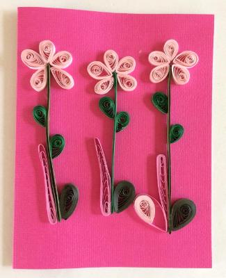 Pink Flowers 2 quilled greeting card