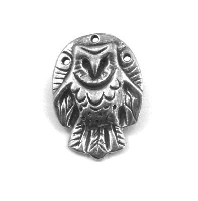 Owl pewter pin barn owl brooch original artisan totem owl jewelry