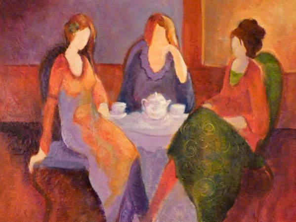 "Tea and Talk Inspired by Itzhak Tarkay ~ 18"" x 24"""