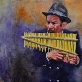 Portrait of a street panflute player, 38cm x 56cm, 2020